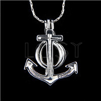 Ten pieces Anchor Shape Silver Toned Copper Cage Pendant