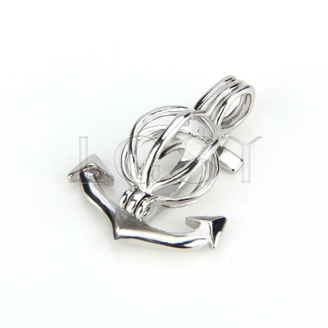 Ten pieces Anchor Shape Silver Toned Copper Cage Pendant