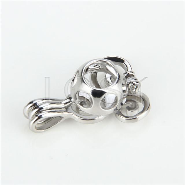 Ten pieces Sea wave Shape Silver Toned Copper Cage Pendant