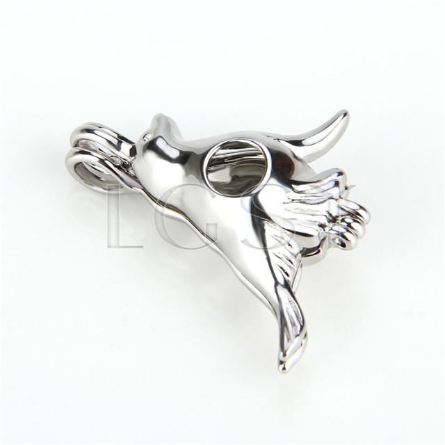 Ten pieces Dove Shape Silver Toned Copper Cage Pendant