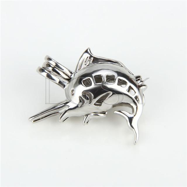 Ten pieces Sword fish Shape Silver Toned Copper Cage Pendant