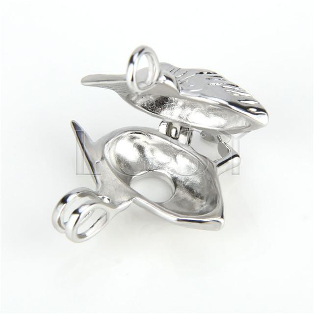 Ten pieces Woodpecker Shape Silver Toned Copper Cage Pendant
