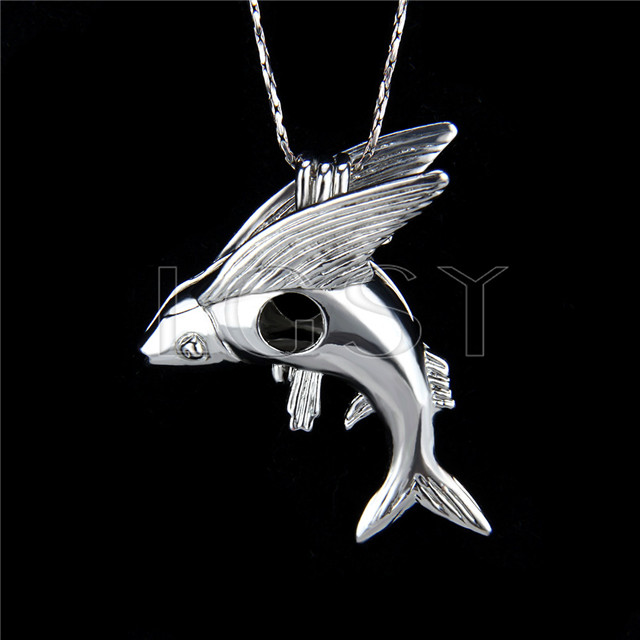 Silver plated fly fish locket necklace pendant 5pcs