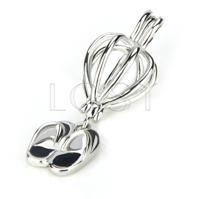 Ten pieces slipper Shape Silver Toned Copper Cage Pendant