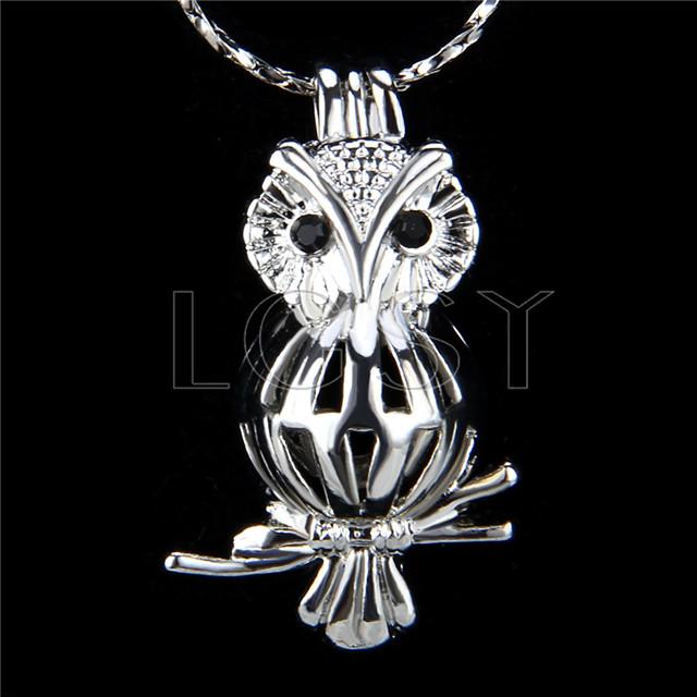 Ten pieces owl Shape Silver Toned Copper Cage Pendant