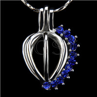 Ten pieces Heart with blue zircons Shape Silver Toned Copper Cage Pendant