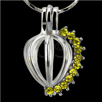 10pcs Heart with Yellow zircons Shape Silver plated Cage Pendant