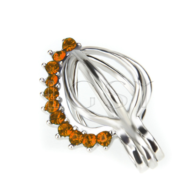 10pcs Heart with Orange zircons Shape Silver plated Cage Pendant