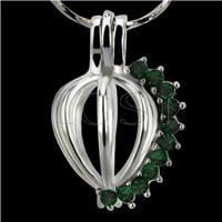 10pcs Heart with Dark green zircons Shape Silver plated Cage Pendant