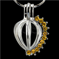 10pcs Heart with Gold zircons Shape Silver plated Cage Pendant