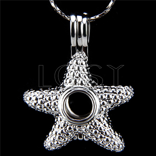10pcs Sea star Silver plated Cage Pendant
