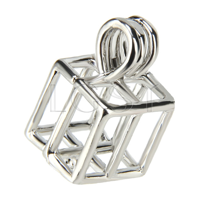 10pcs Silver plated Box Cage Pendant