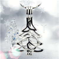 Christmas design Silver plated christmas tree Cage Pendant 10pcs