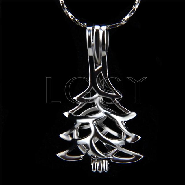 Christmas design Silver plated christmas tree Cage Pendant 10pcs