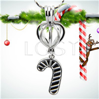 Christmas design Silver plated Christmas stocking Cage Pendant 10pcs