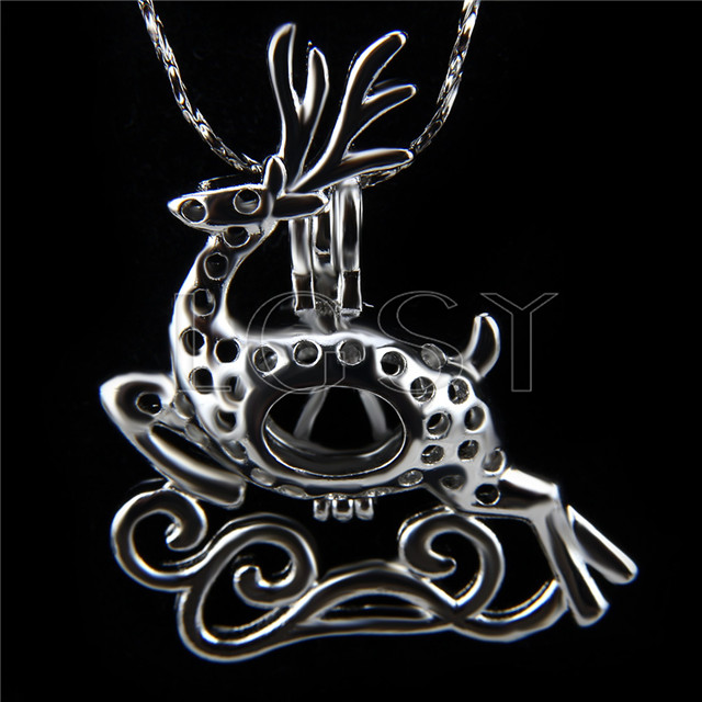 Christmas design Silver plated deer Cage Pendant 10pcs
