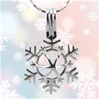 Christmas design Silver plated snowflake Cage Pendant 10pcs