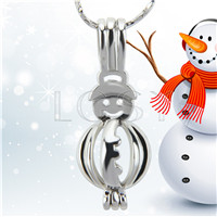 Christmas design Silver plated snowman Cage Pendant 10pcs