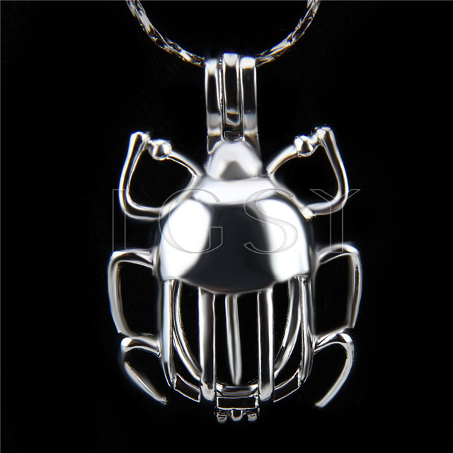 Fashion design Silver plated beetle Cage Pendant 10pcs