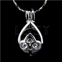 Fashion design Silver plated waterdrop Cage Pendant 10pcs