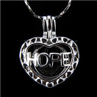 Fashion design Silver plated hope love Cage Pendant 10pcs