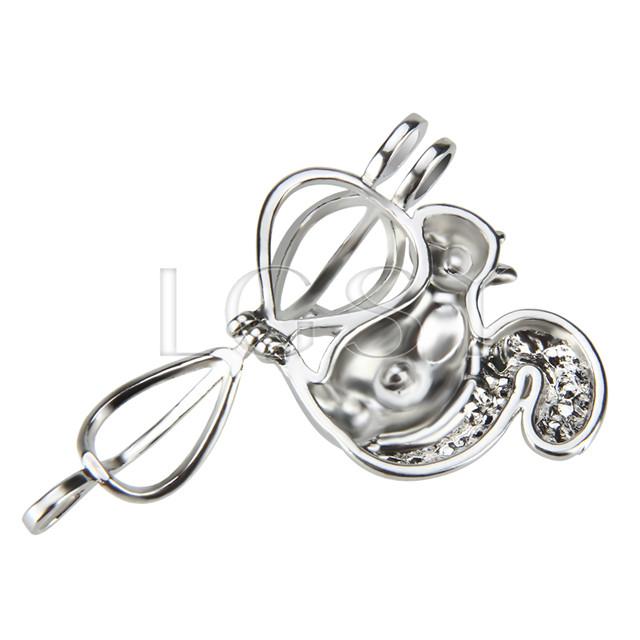 Fashion design Silver plated squirrel Cage Pendant 10pcs