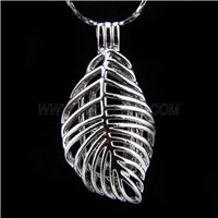 Newest design Silver plated Leaf Cage Pendant 10pcs