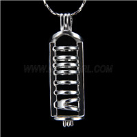 Popular design Silver plated Long shape Cage Pendant 10pcs