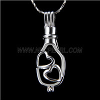 Popular design Silver plated Love wish bottle Cage Pendant 10pcs