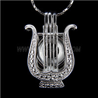 Popular design Silver plated Lyre Cage Pendant 10pcs