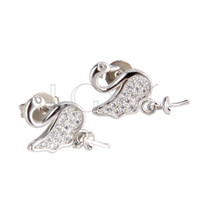 Latest Wholesale silver plated Swan earring fitting