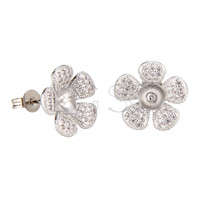Latest Wholesale silver plated Flower earring fitting