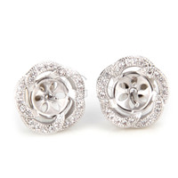 Latest Wholesale silver plated Round flower earring fitting