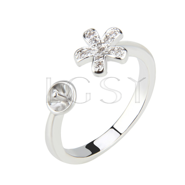 Latest Wholesale Silver plated adjustable flower ring fitting