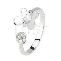 Latest Wholesale Silver platedr adjustable butterfly ring fitting