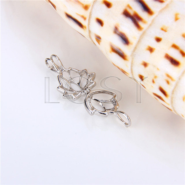 925 Sterling Silver Lotus Flower Shape Cage Pendant