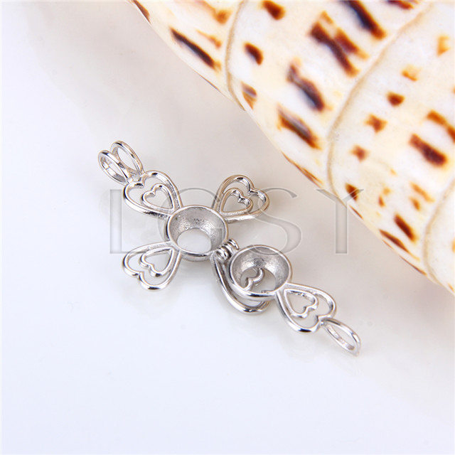 925 Sterling Silver Cross Shape Cage Pendant