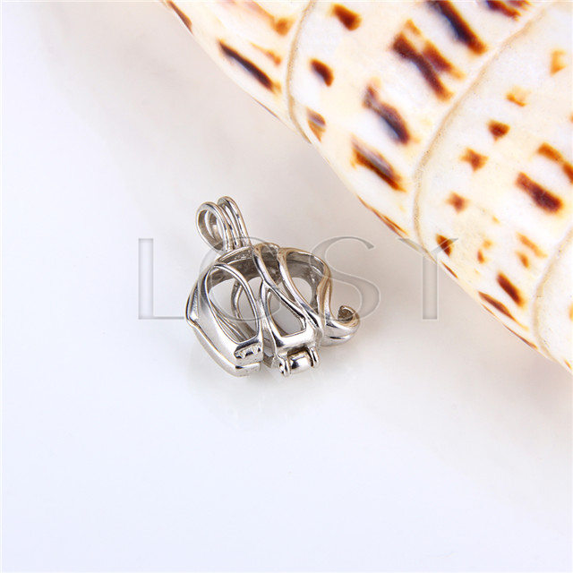 925 Sterling Silver Elephant Shape Cage Pendant