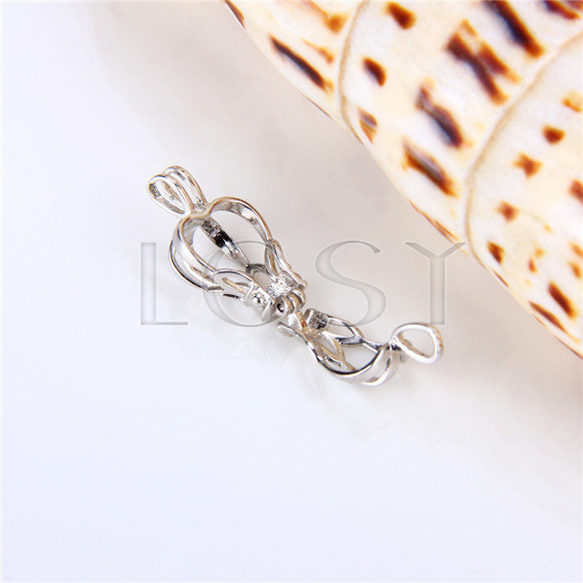 925 Sterling Silver Crown Shape Cage Pendant