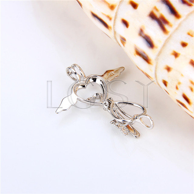 925 Sterling Silver Angel Heart Hey Shape Cage Pendant