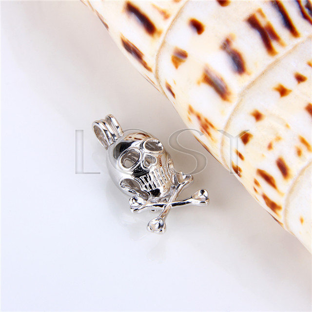 925 Sterling Silver Skull Shape Cage Pendant