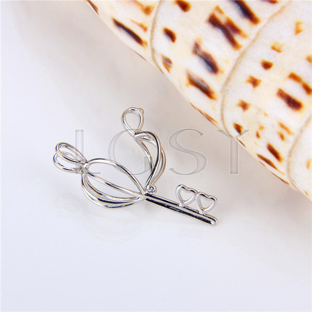 925 Sterling Silver Heart Key Shape Cage Pendant
