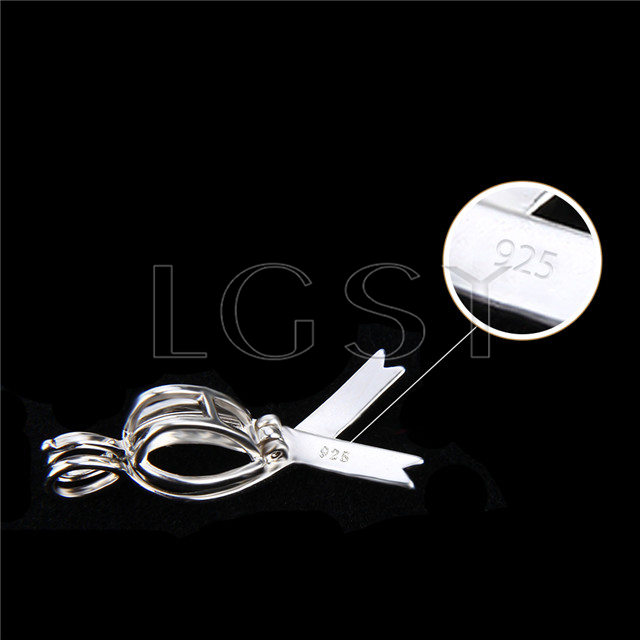 925 Sterling Silver Silk Scarf Shape Cage Pendant