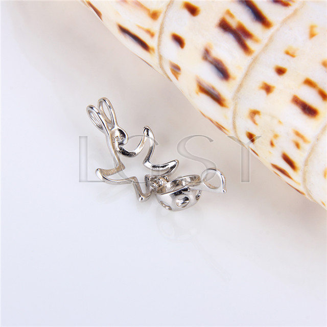 925 Sterling Silver Starfish Shape Cage Pendant