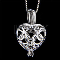 925 Sterling Silver Olympic Rings Heart Shape Cage Pendant