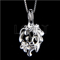 925 Sterling Silver Flower Shape Cage Pendant