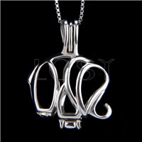 925 Sterling Silver Elephant Shape Cage Pendant