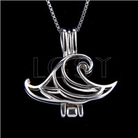 925 Sterling Silver Wave Shape Cage Pendant