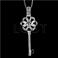 925 Sterling Silver China Knot Key Shape Cage Pendant