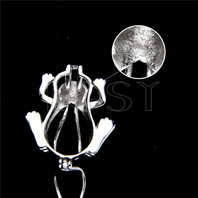 925 Sterling Silver Frog Shape Cage Pendant